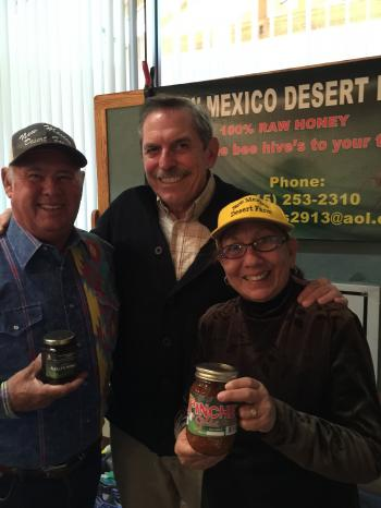 Image of Harold and Carmen Shumate of new Mexico Desert Farm's with Dr. Fedio
