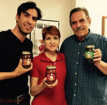 Image of Hector Ornelas and Flavia Cuellar from Pinches Foods with Dr. Fedio