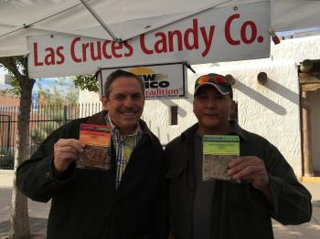 Image of Luis Flores from Las Cruces Candy Co. with Dr. Fedio